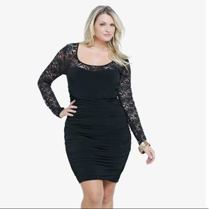 Torrid teal and black bodycon dress